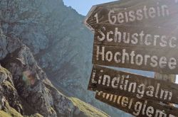 Signpost to the Mountains in Saalbach Hinterglemm