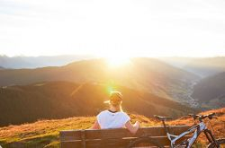 Sunset in mountain biking